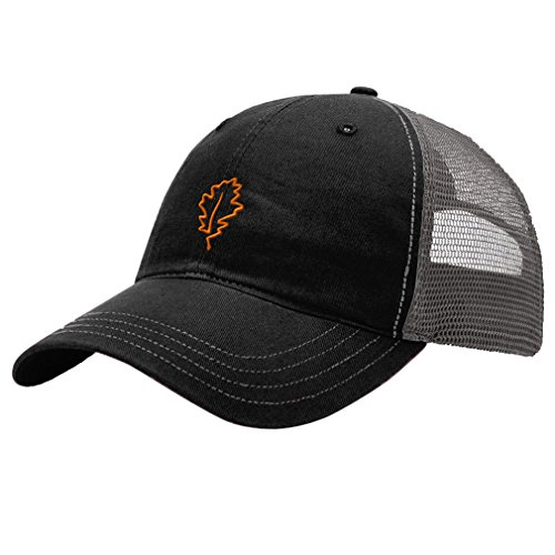 Speedy Pros Plants Oak Leaf Tree Embroidery Richardson Front And Mesh Back Cap Hat   Black Charcoal