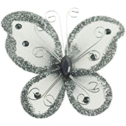 "24 Silver Organza Nylon Wire Butterfly Wedding Arts and Crafts Decorations 2"" Big"
