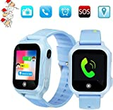 Kids Cellphone Smart Watch Children's Birthday Gift GPS and Waterproof Smart Watches Hd Touch Screen LBS with WiFi and SOS Camera Game Watch Boys Girls Learning Watch Toys(Blue) (Blue)