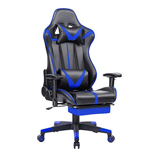 Blue Whale Gaming Chair High Back PC Game Chair Executive Office Chair Racing-Style Computer Chair Reclining Desk Chair Headrest and Lumbar Support(Red) Zhuji Import & Export Trading Co., Ltd.