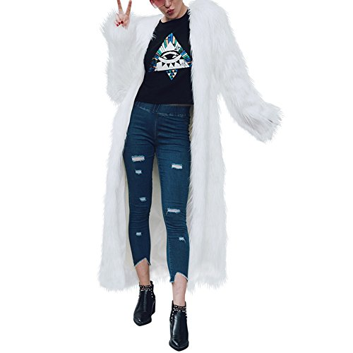 Fake Coat Costume Fur (Women's Winter Elegant Warm Long Faux Fur Jacket Coat)
