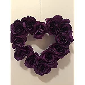 LARGE HEART WREATH - MULTI-USER - CANDLEHOLDER - MEMORIAL MARKER - PHOTO FRAME - DARK PURPLE/PLUM ROSES 74