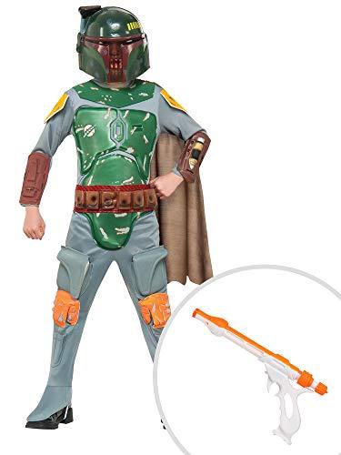 Star Wars Bobba Fett Costume Kit Kids Medium With Jango Fett Blaster ()