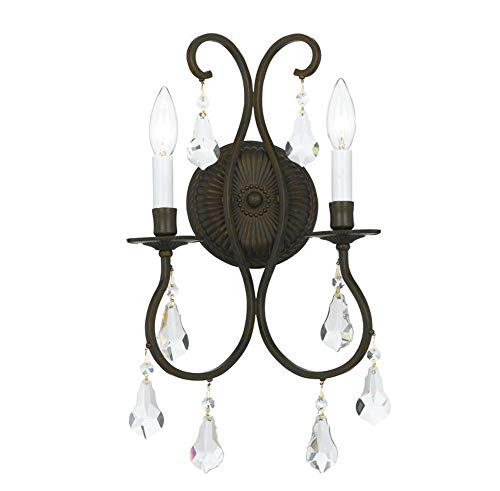 - Crystorama 5012-EB-CL-MWP Crystal Accents Two Light Bathroom Lights from Ashton collection in Bronze/Darkfinish, 6.00 inches