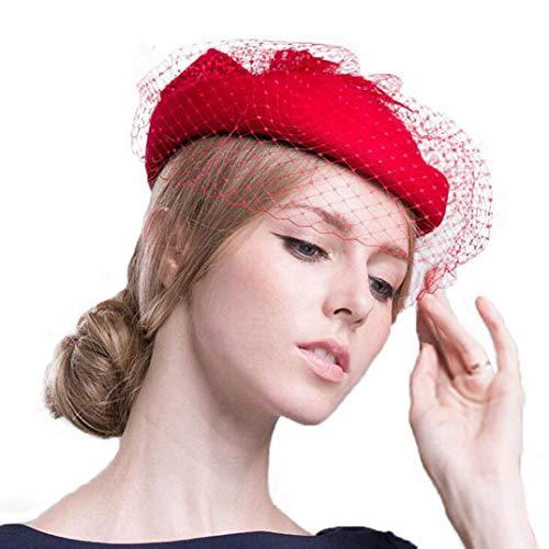KRASTAL 100% Australian Merino Wool Pillbox Hat with Veil for Women Elegant Bowknot Wedding Fascinator Red ()