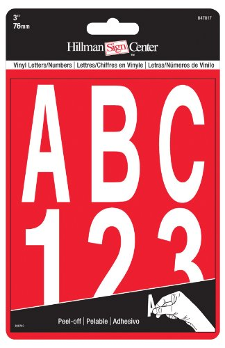 Reflective Inch 3 Number (The Hillman Group 847017 3-Inch Die-Cut Letters/Numbers Kit, White)