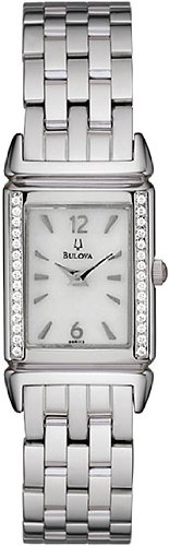 Bulova Diamond Collection Dress Ladies Curved Mineral Crystal Stainless Steel Watch 96R113