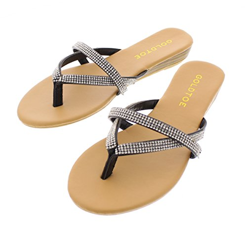 Gold Toe Women's Camile Double Strap Multi Band Rhinestone Jewel Embellished Low Wedge Heel Thong Sandal Black 7 (Flop Flip Wedge Low)