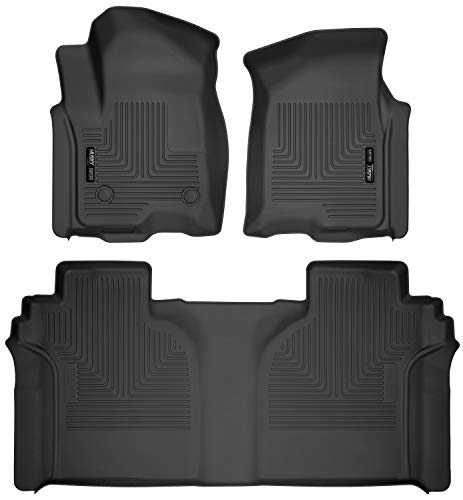 (Husky Liners 94021 Combo Set Black Front and 2nd Seat Floor Liners Fits 2019 Chevrolet/GMC Silverado/Sierra 1500 Crew Cab with Carpeted Factory Storage Box)