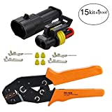 HIFROM 15 Kit 2 Pin Way Waterproof Electrical Connector with Crimping Tool, 1.5mm Series Terminals Heat Shrink Quick Locking Wire Harness Sockets 20-16 AWG
