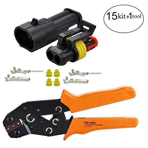 HIFROM 15 Kit 2 Pin Way Waterproof Electrical Connector with Crimping Tool, 1.5mm Series Terminals Heat Shrink Quick Locking Wire Harness Sockets 20-16 AWG by HIFROM