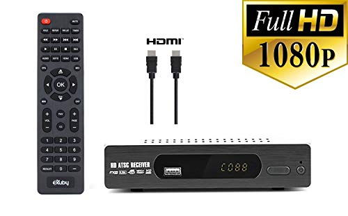 Exuby DTV Converter Box with HDMI Cable for Recording and Viewing Full HD Digital Channels for Free (Instant or Scheduled Recording, 1080P HDTV, HDMI Output, 7 Day Program Guide and LCD Screen)