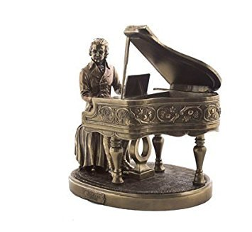 (Religious Gifts Classical Composer Wolfgang Amadeus Mozart with Piano 8 1/8 Inch Cold Cast Bronze Statue Figurine)