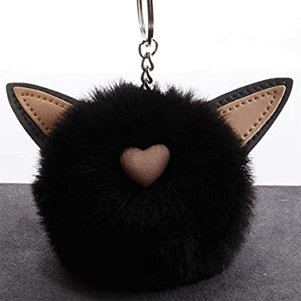Amazon.com: Rarido Women Fluffy Pompom cat Bunny Keychain ...