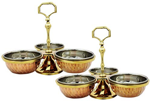 SKAVIJ Copper Steel Serving Pickle, Condiment Dish Rack 3-Bowl Set with 3 Spoons (6 Ounce, Pack of 2)