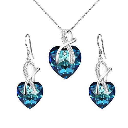 BriLove 925 Sterling Silver Heart Necklace Earrings Jewelry Set Swarovski Crystal CZ Necklace Hook Dangle Earrings Set for Women Bermuda blue