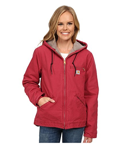 Carhartt Women's Sherpa Lined Sandstone Sierra Jacket Zip Front Hooded WJ141,Crab Apple,Medium by Carhartt