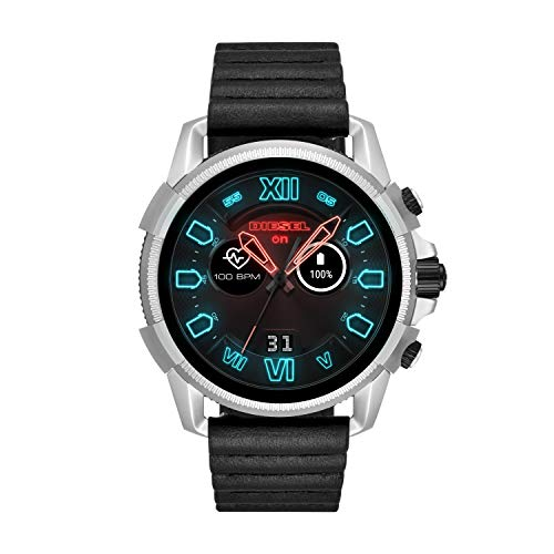Diesel Men's 'Smartwatch' Quartz Stainless Steel and Leather Smart Watch, Color : Black (Model : DZT2008)