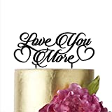 Wedding Cake Toppers Love You More, Cake Topper for Wedding, Gold Cake Topper, Silver Cake Topper, Cake Decorations, HappyPlywood (width 6'', silver)