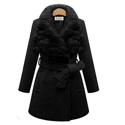 QZUnique Women Plus Size Wind Coat Rabbit Fur Collar Waist Belt Medium Long Coat Black US (Fur Belt Black Long Jacket)