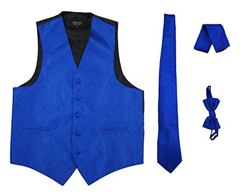 Bow Chest - Amanti - Men's 4pc Set Paisley Tuxedo Vest Vest / Tie / Hanky / Bow Tie (Large (Chest:42