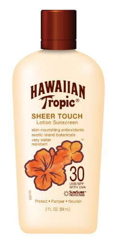 Hawaiian Tropic Sunscreen Sheer Touch Ultra Radiance Broad Spectrum Sunscreen Lotion, TSA Approved Size, SPF 30, 2 Ounce Pack of 4