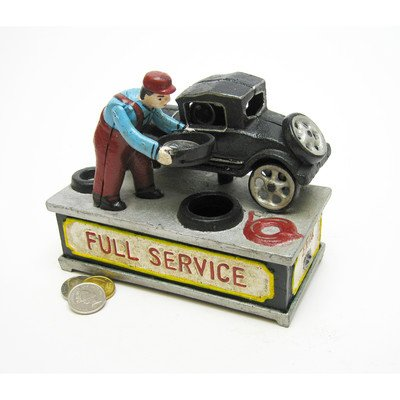 Reviews/Comments Design Toscano Model the Service Station Authentic Foundry Cast Iron Mechanical Bank