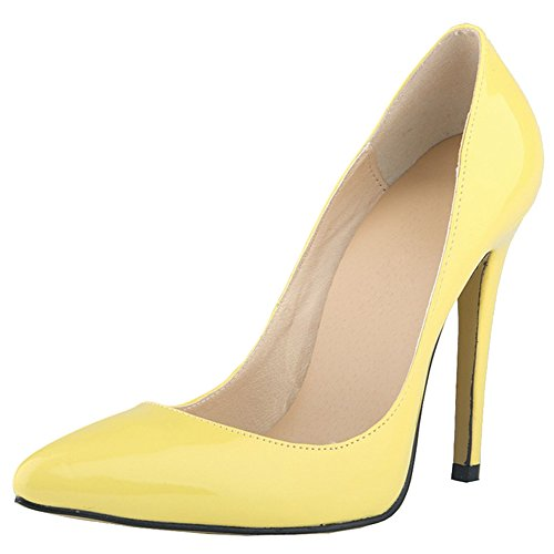 fereshte Women's Pointed Toe Patent Leather Stiletto Heel Wedding Party Dress Pump Yellow KERkp