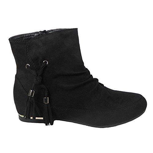 Womens Ladies Lace Up Suede Low Cuban Heel Ankle Casual Chelsea Boots Shoes Size 3-8 BLACK TASSLE CTzSkZxfp