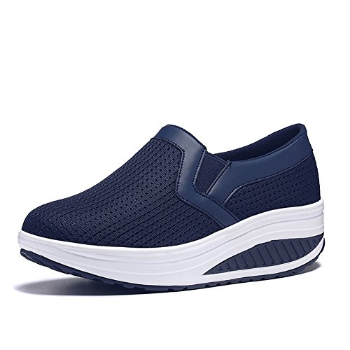 L LOUBIT Women Wedge Shoes Breathable Mesh Sneakers Slip On Comfort Walking Shoes 1608 Blue 38