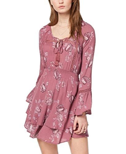 American Rag Juniors' Printed Peasant Dress (Bright Mauve Combo, M)