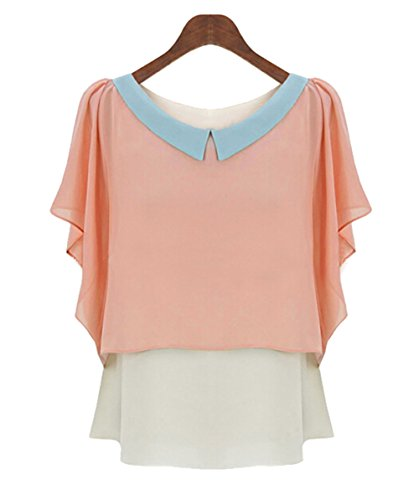 [Bramble Women's Chiffon Cute Peter Pan Collar Fly Cuffs Sleeve T-shirt XL Pink] (Alaska Womens Pink T-shirt)