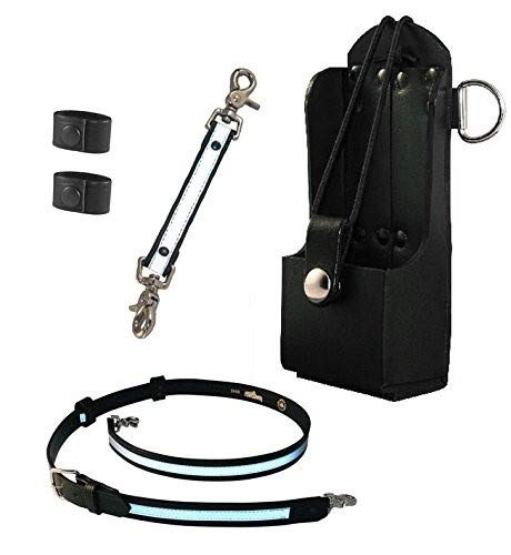 Boston Leather Firefighter's Bundle- Reflective Anti-Sway Strap for Radio Strap, Reflective Radio Strap / Belt, Firefighter's Radio Holder (for Motorola HT750 / HT1250), 2 Cord Keepers
