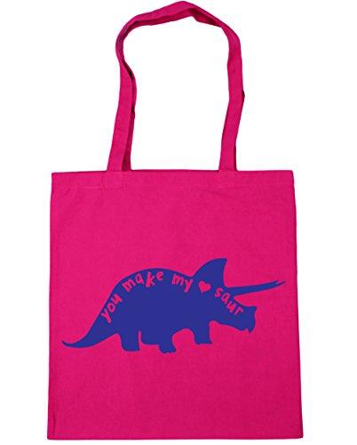 You Heart My Gym x38cm Saur Shopping Make litres Tote Dinosaur Beach Bag HippoWarehouse 10 Fuchsia 42cm Cute 4HqwBq
