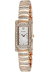 Bulova Women's 'Crystal' Quartz Stainless Steel Automatic Watch, Color:Rose Gold-Toned (Model: 98L205)