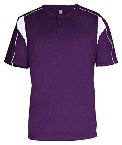 Badger Sport B-Dry Pro Henley T-Shirt - 7937 - Purple / White - XXXX-Large