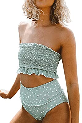 ZESICA Women's Summer Floral Printed High Waist Ruched Smocked Beach Bikini Sets Swimsuit Bathing Suit