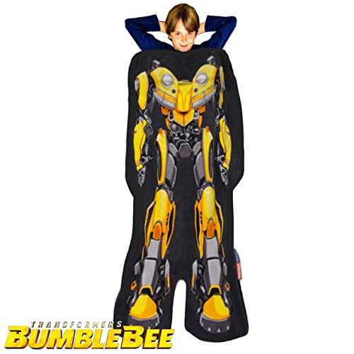 Blankie Tails Transformers Bumblebee The Movie Shaped Blanket Super Soft-Double Sided Minky Fleece Sized for Kids- Climb Inside This Cozy Wearable Blanket