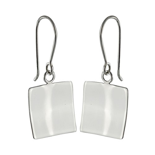 Sterling Silver Square Concave Dangle Earrings, French Ear Wires (Wire Earrings Square)