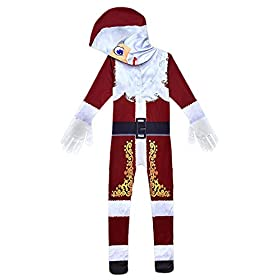 - 41s3KA5I8gL - MUCLOTH Kids 3D Printing Christmas Santa Claus Cosplay Costume Deluxe Santa Zentai Jumpsuit for Boys and Girls