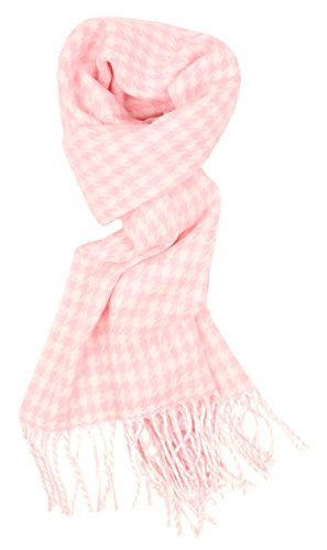(Love Lakeside-Women's Soft Cashmere Feel Winter Plaid Scarf (Light Pink Houndstooth))