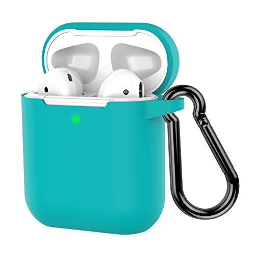 : AirPods Case, Coffea Protective Silicone Cover Skin with Keychain for AirPods 2 Wireless Charging Case [Front LED Visible] (Turquoise Blue)