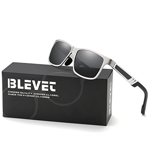 BLEVET Men's Classci Aluminum Square Metal Frame Ultra Light Driving Anti-reflective Polarized Sunglasses (Silver Frame, - Sol Lentes Hombre De