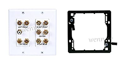 "WennoW ""2-Gang 5.1 Surround Sound Distribution Wall Plate with Mounting 4012&7014"