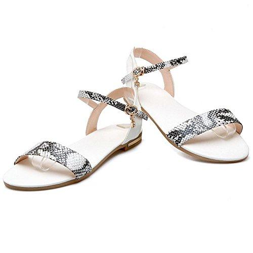COOLCEPT Damen Mode-Event Slingback Sandalen Open Toe Animal Print Shoes White