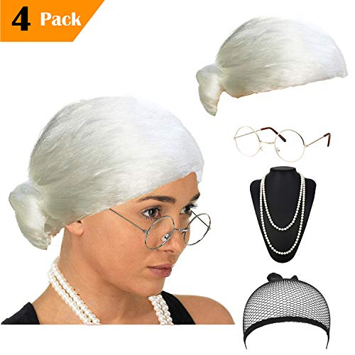 eforpretty Womens Cosplay Costume Old Lady Wig, w/Round Glasses & Pearl Necklace Beads Costume Accessories (C4) -