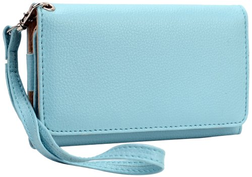 - Kroo Universal Wallet Carrying Case for Smartphones - 1 Pack - Retail Packaging - Light Blue