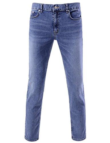 DETYLISH SJ2018 Mens Slim Fit Basic Denim Pants Comfy Stretchy Washing Jeans Blue 29W/27L(Tag Size M) by DETYLISH