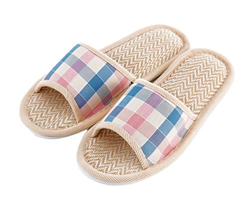 Women's Men's House Flax Bamboo Straw Slides Open-Toe Slippers Flip Flop Slip on Bath Spa Summer Sandal Lightweight Shoes Breathable Four-Season Indoor (04/Pink Grid, 6-7 M US ()