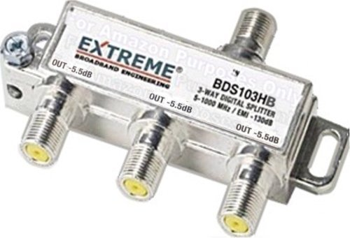 Extreme 3 Way Balanced HD Digital High Performance 5-1002MHz Coax Cable Splitter - BDS103HB (5.5 dB / 5.5 dB / 5.5 dB out), Model: EL-UDON-88151, Electronic Store (3 Way Coaxial Splitter)